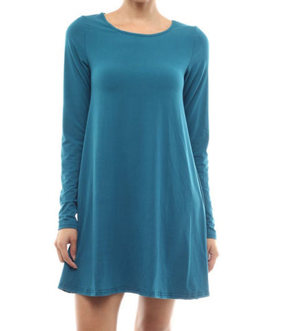 Tunic Top Long Sleeve Trapeze Dress Teal