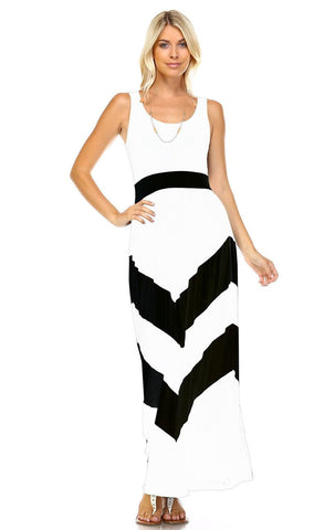 Sleeveless Long Evening Chevron Maxi Dress White Black