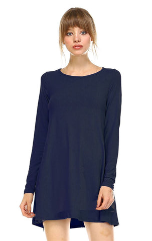 Tunic Top Long Sleeve Trapeze Dress Navy
