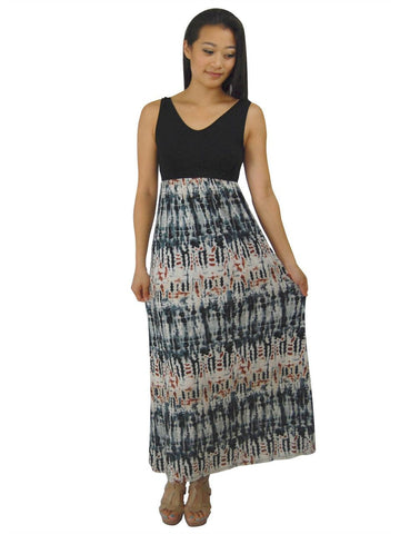 Soft and Smooth Sleeveless Tie Dye Black Gray Maxi Dress