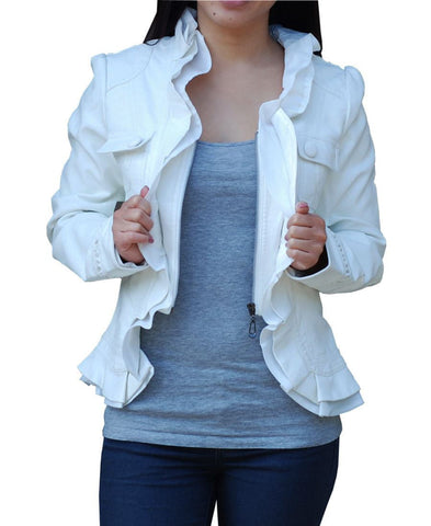 Womens White PU Faux Leather Jacket