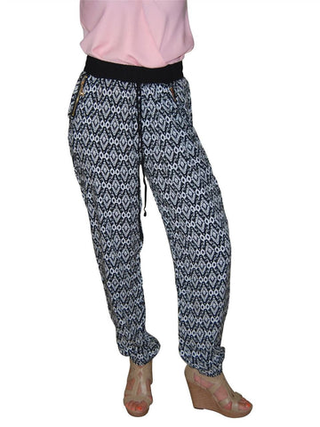 Jogger Pants Printed Native Diamonds Black White
