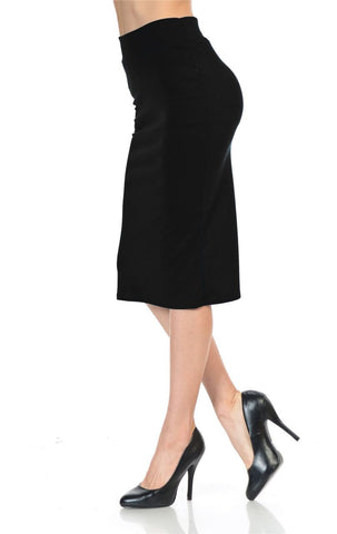 Solid Black Pencil Skirt