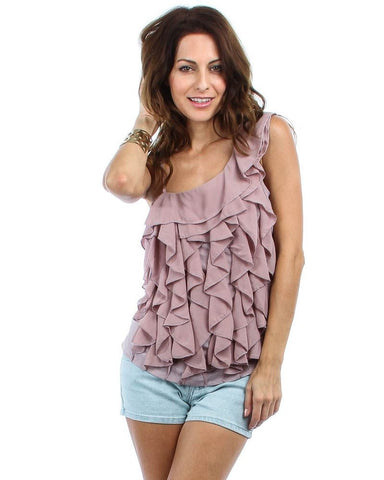 One Shoulder Ruffle Front Blouse Mauve Pale Purple Pink