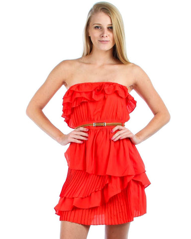 Strapless Mini Dress Ruffle Belt Orange Red