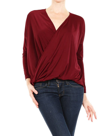 Blouse Long Sleeve Wrap Twist Red