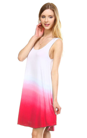 Dip Tie Dye Dress Tank Sleeveless Mini Dresses White Coral