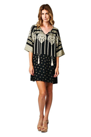 Black Ivory Aztec Tribal Tunic Dress with Tassels