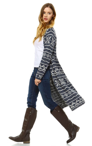 Long Aztec Cardigan Tribal Sweater Holiday Isle Pattern Navy Gray