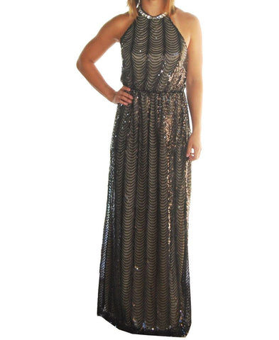 Sexy Black Nude Sleeveless Sequin Halter Top Party Gown Maxi Dress