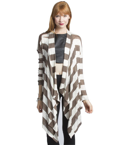 Mocha White Striped Mesh Light Cardigan