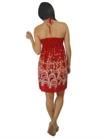 Red Mini Floral Elastic Band Top Sundress