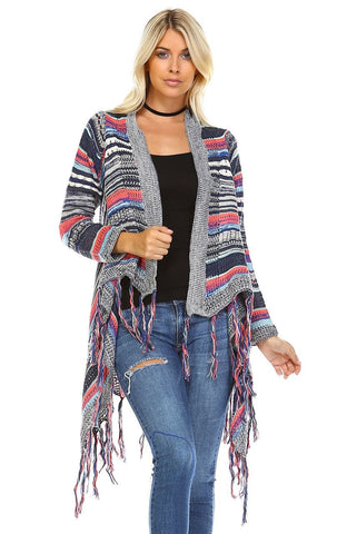 Open Front Oversized Fringe Cardigan with Multiple Stripe Gray Navy