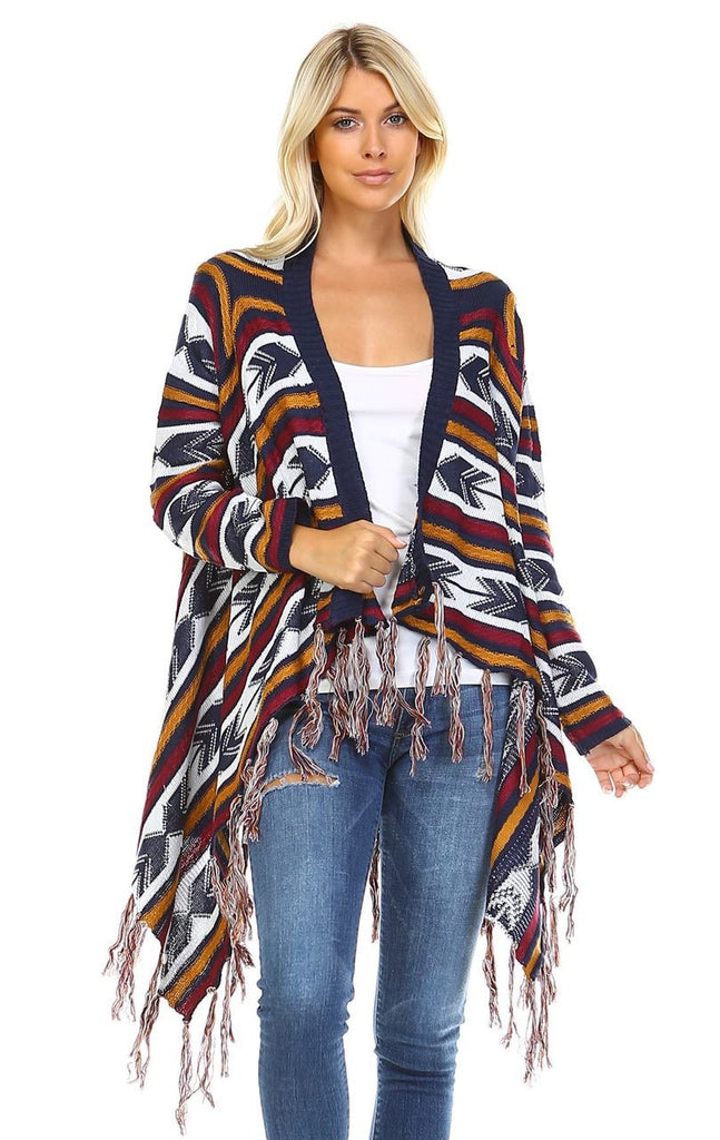 Open Front Oversized Fringe Cardigan with Navy Orange Burgundy Arrow