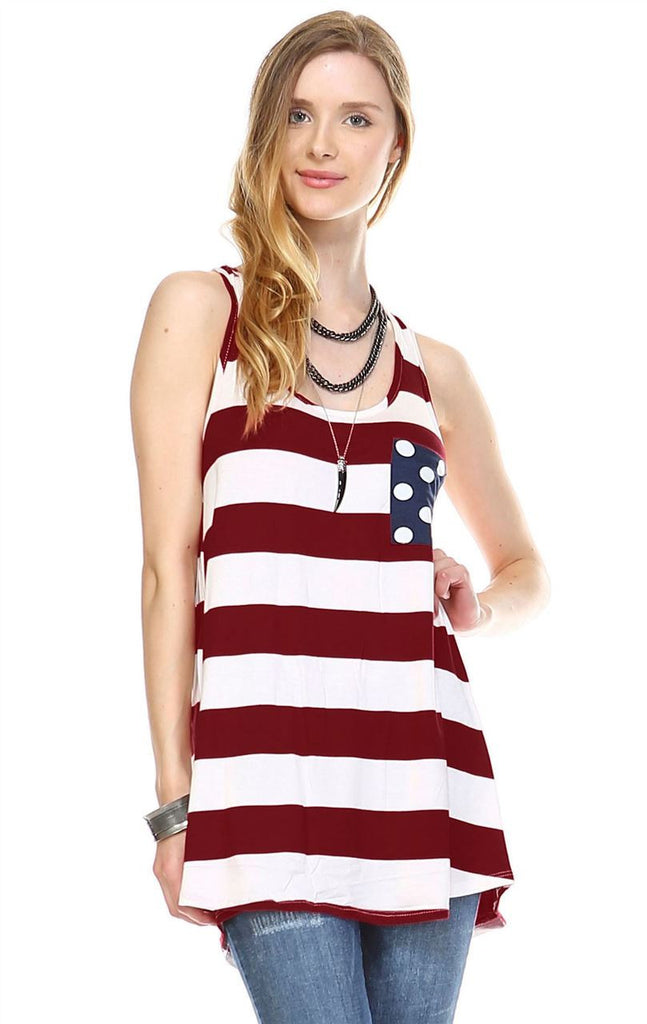 Wine White Striped Chest Pocket Bow Back Tank Top