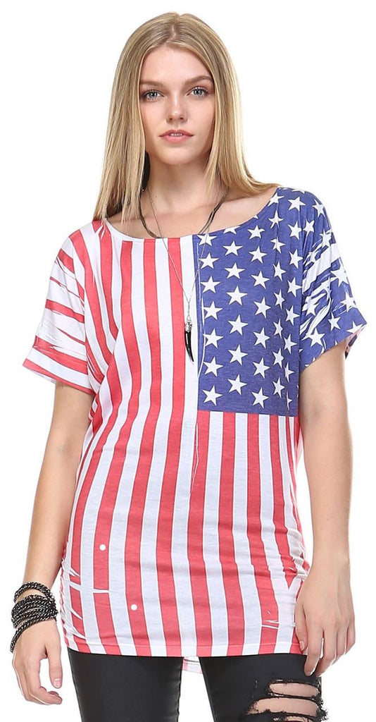 Patriotic Shirt Short Sleeve Bold Flag Red White Blue