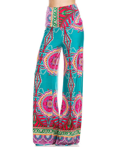 Palazzo Pants High Waisted Foldover Tropical Teal Pink