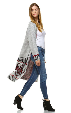 Long Trench Aztec Cardigan Tribal Sweater Border Gray