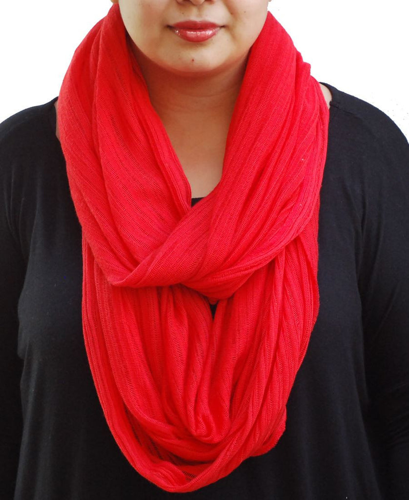Fashion Scarf Infinity Shawl Knit Red One Size