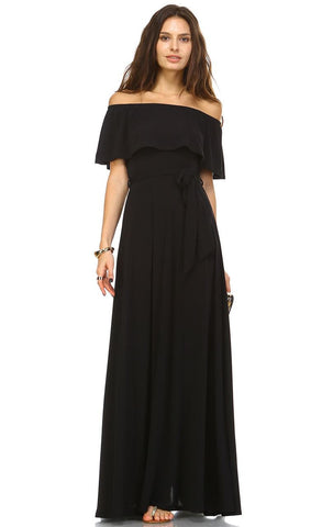 Off The Shoulder Wrap Maxi Dress Black