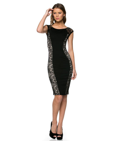 Stunning Classic Lace Side Panel Mini Dress Black Paisley