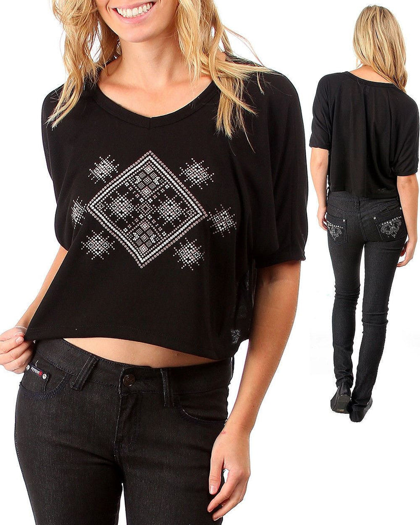 Cropped Tribal Pattern V Neck Shirt