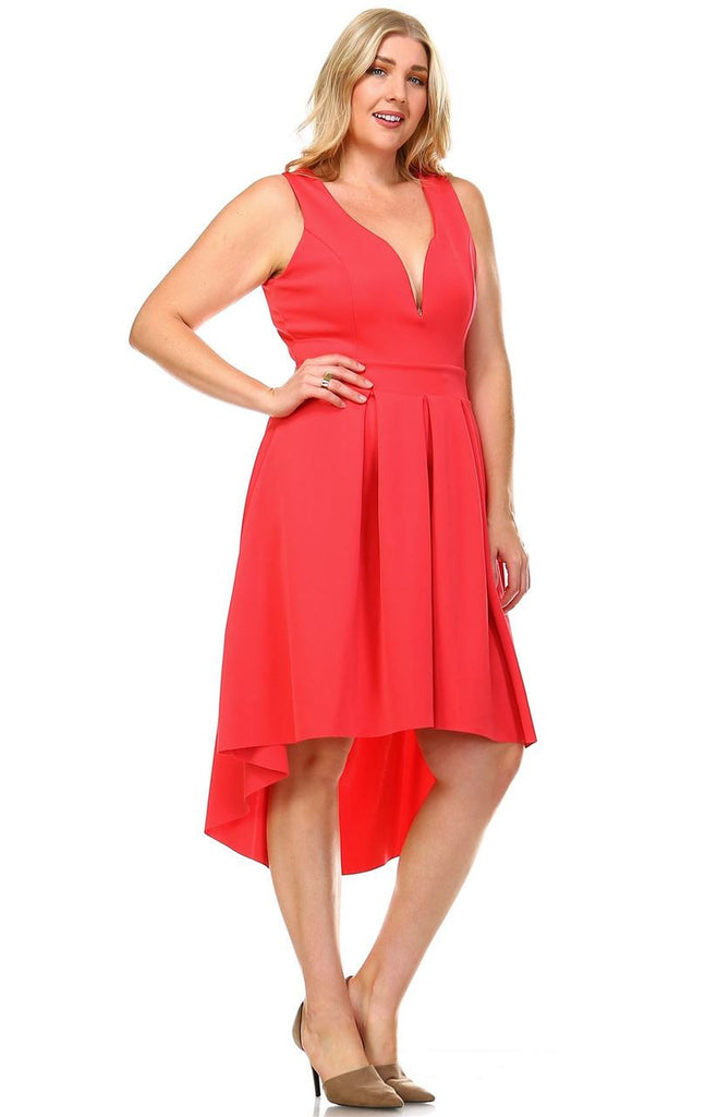 Plus Size Pleated Midi Cocktail Dress with Empire Waist Coral