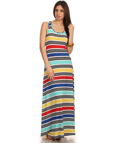 Racerback Maxi Dress Striped Red Blue Yellow