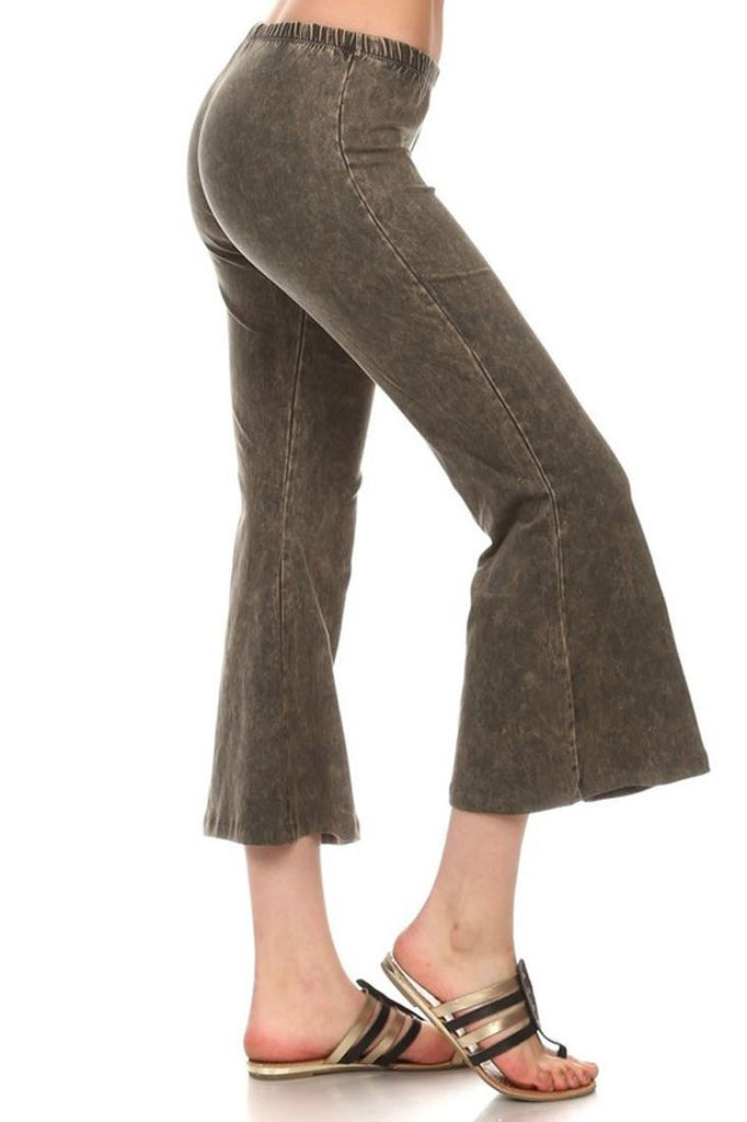 Cropped Bell Bottom Pants Denim Army Green Olive