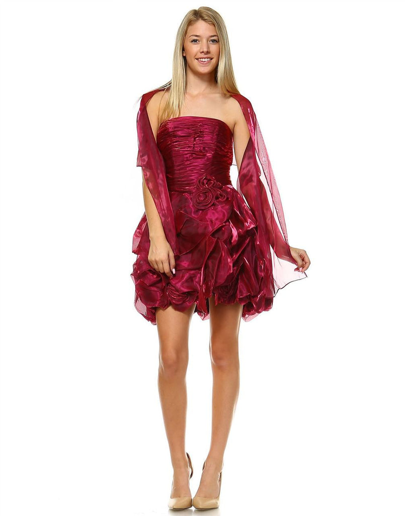 Homecoming Ruched Cocktail Dress Bubble Hem Raspberry