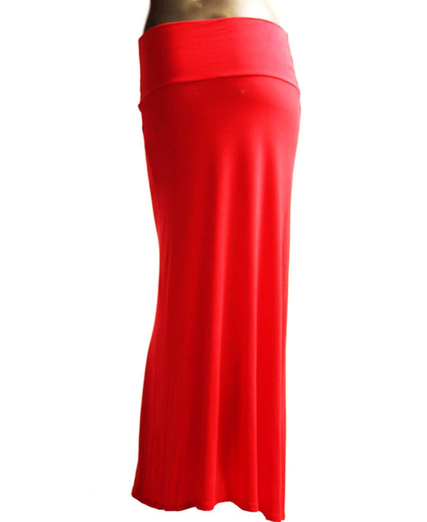 Solid Red Foldover Maxi Skirt