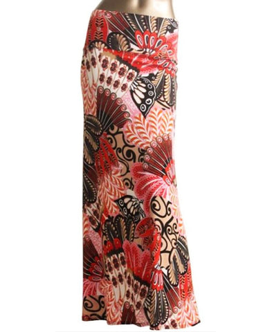 Butterfly Colalge Pink Red Foldover Maxi Skirt