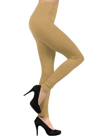 Solid Color Seamless Fleece Legging Beige
