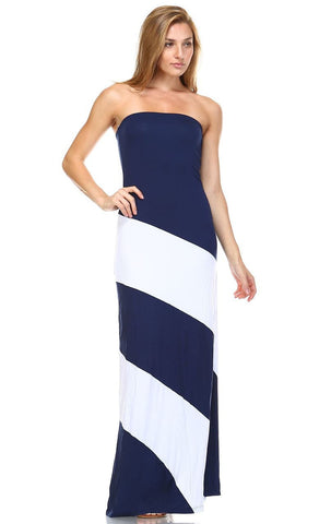 Strapless Navy White Double-Lined Striped Maxi Dress