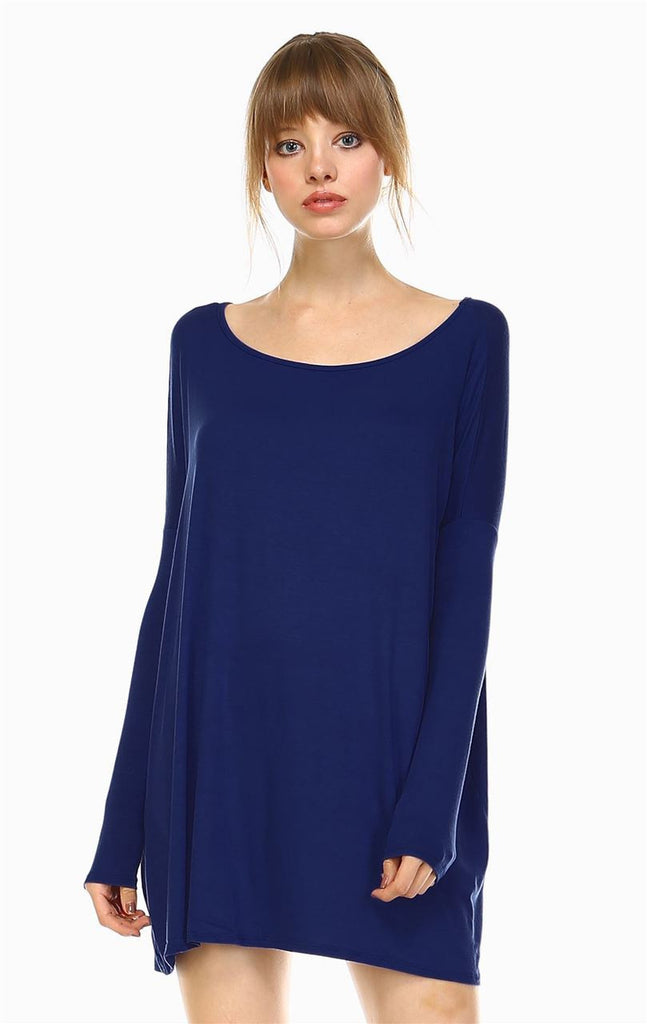 Tunic Top Shirt Dress Oversized Round Neck Long Sleeve Navy