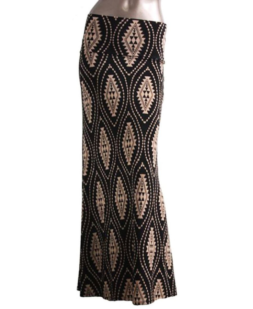 Black Nude Diamond Foldover Maxi Skirt
