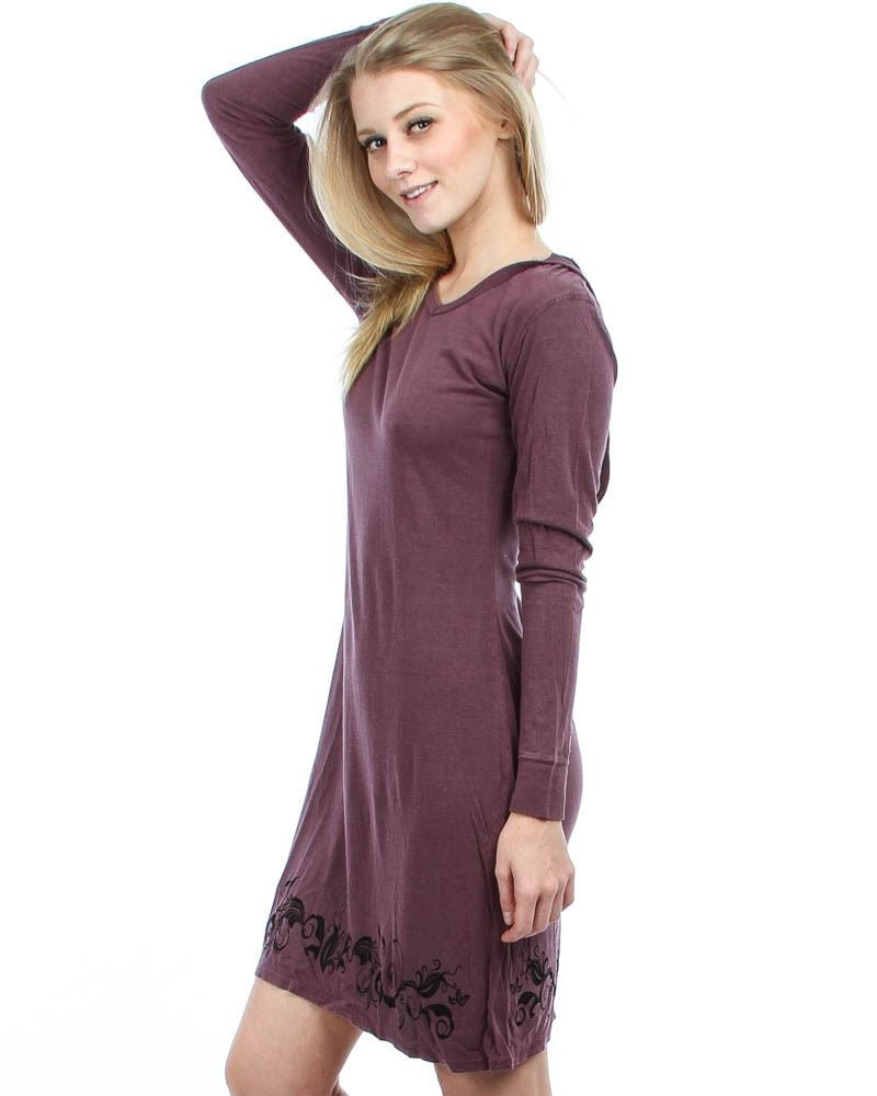 Floral Print Long Sleeve Sweatshirt Mini Dress with Hoodie Mauve