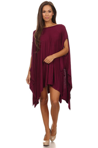Ponchos Asymmetrical Tunic Top Wine One Size