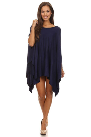Ponchos Asymmetrical Tunic Top Navy Blue One Size