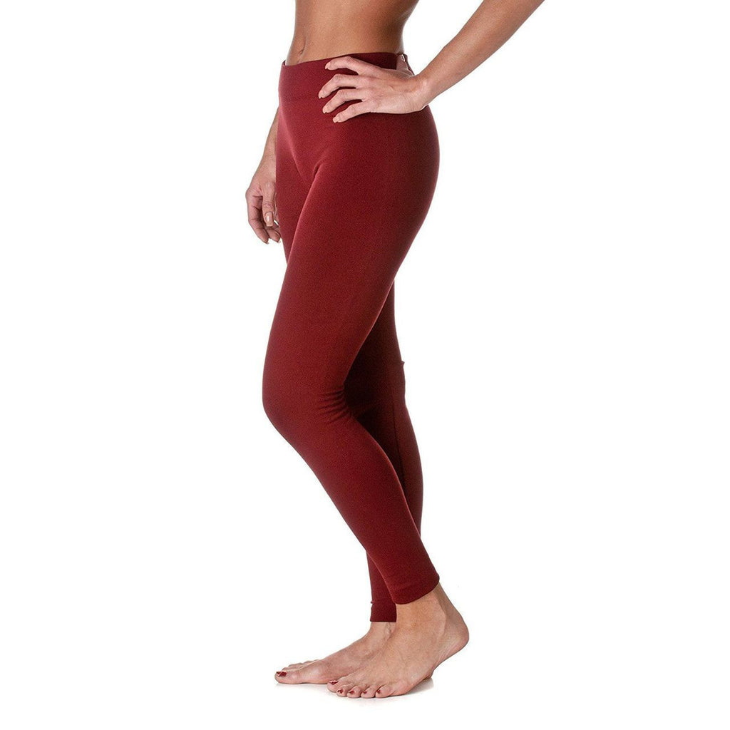 Solid Color Seamless Fleece Legging Wine