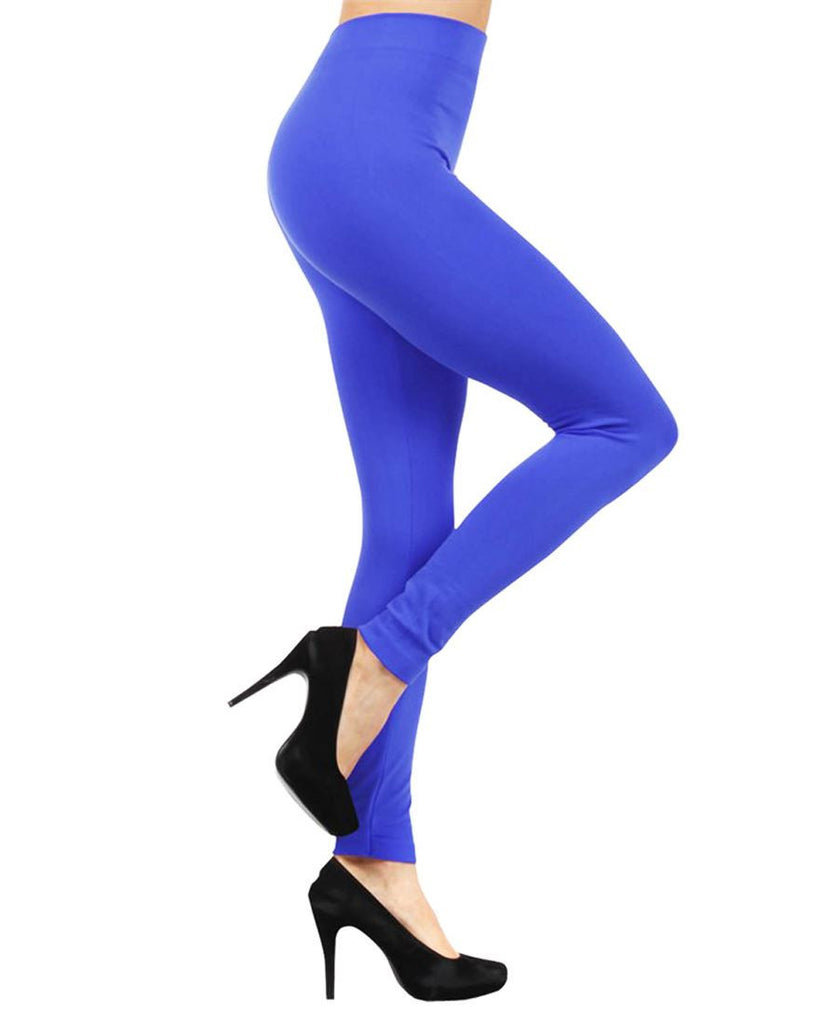 Solid Color Seamless Fleece Legging Royal Blue