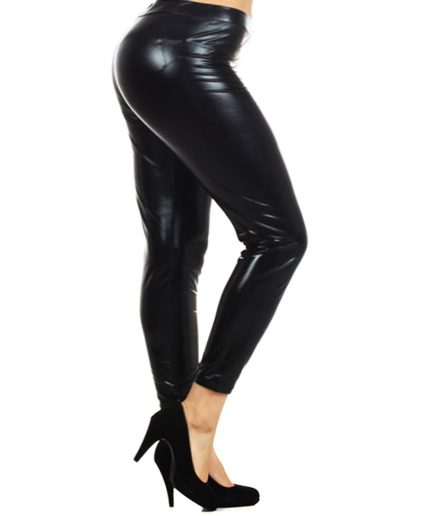 Solid Leggings Faux Leather Black PLUS