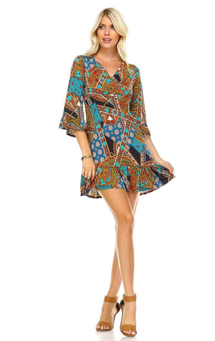 Off Shoulder Tunic Dress Antique Mandala Trim