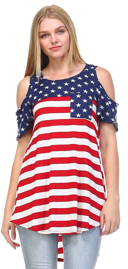Patriotic Shirt Open Shoulder Navy Star Red Stripes 1