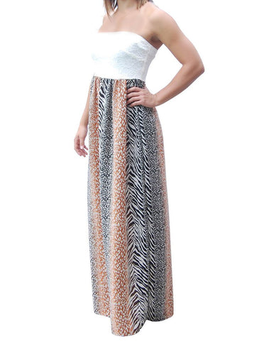 Brown Gray Strapless Lace Mixed Zebra Leopard Animal Print Long Evening Maxi Dress