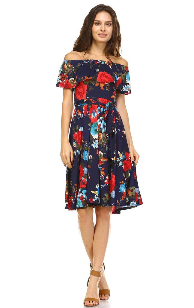 Off The Shoulder Knee Length Dress Floral Navy Red
