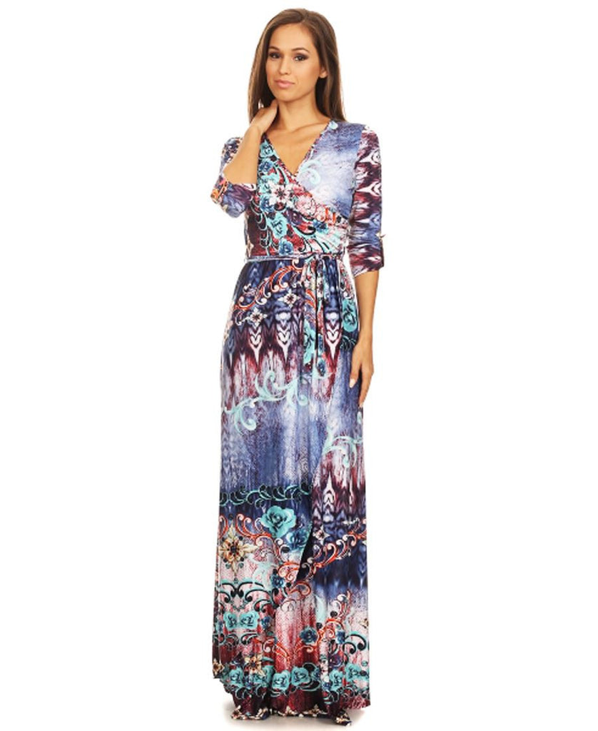4e7d02d3163 ... Maxi Dress with Sleeves Jlos Blue Two