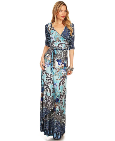 Maxi Dress with Sleeves Bombshell Blue Two