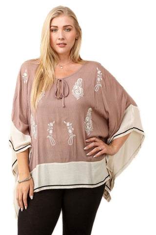 Plus Size Shirt with Long Sleeves Paisley Mocha