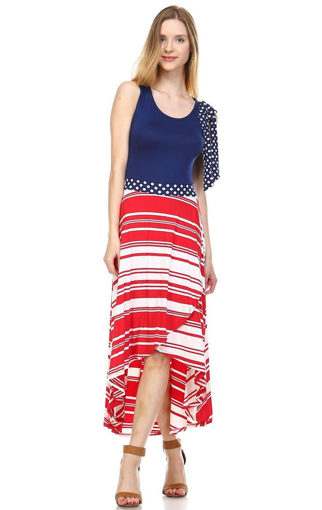 Red White Striped 3 Navy Shoulder Bow Maxi Dress